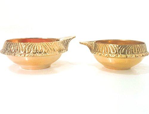 SET of 2 Pure Brass Arti Diya Deepak Wick Lamp 75/85 mm Deep Oil Ghee Vraja Krishna Kuber God Of Wealth Devotion Worship by Evergrow Corp