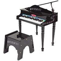 Melissa & Doug Aprende a tocar el piano clásico de cola, teclado mini con 30 teclas que sacan sonidos al tocarlas, banqueta que no se vuelca, materiales de alta calidad, 60.071 cm alto x 54.356 cm ancho x 25.527 cm largo