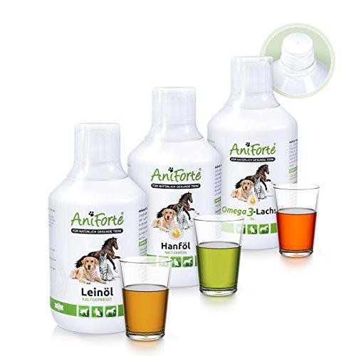 AniForte Barf-Öl Set 3 mit je 500ml Lachsöl, Leinöl und Hanföl - Naturprodukt für Hunde und Katzen