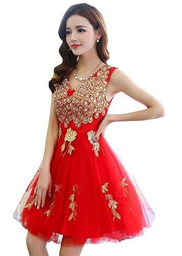 Damen Kleid Rot A Rot Linie Drasawee ZqfgdPZn