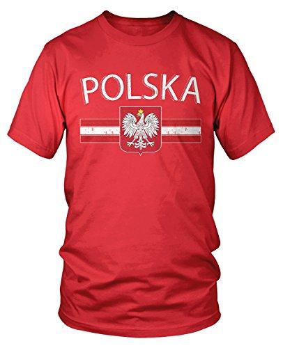 - Amdesco Men's Polska Poland Flag and Polish White Eagle T-Shirt, Red Large