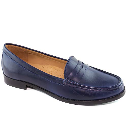 Driver Club USA Women's Genuine Leather Made in Brazil Greenwich Fashion Fast Blue Penny Loafer ()
