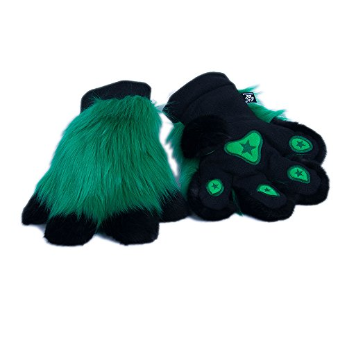 Pawstar Paw Mitts Furry Animal Hand Paws Costume Gloves Adults - Green]()