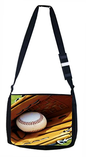 Baseball and Mitt Lea Elliot TM Laptop Messenger Bag and Small Accessory Case SET by Lea Elliot