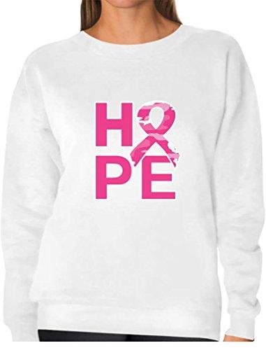 (TeeStars - Hope Camo Pink Ribbon Breast Cancer Awareness Women Sweatshirt Large White)