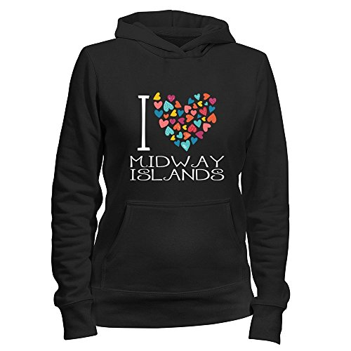 new Idakoos I love Midway Islands colorful hearts Felpa con cappuccio da  donna