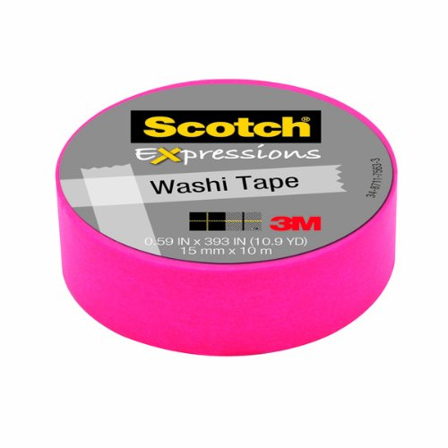 Scotch Expressions Washi Tape, .59-Inches x 393-Inches, Pink, 6 Rolls/Pack