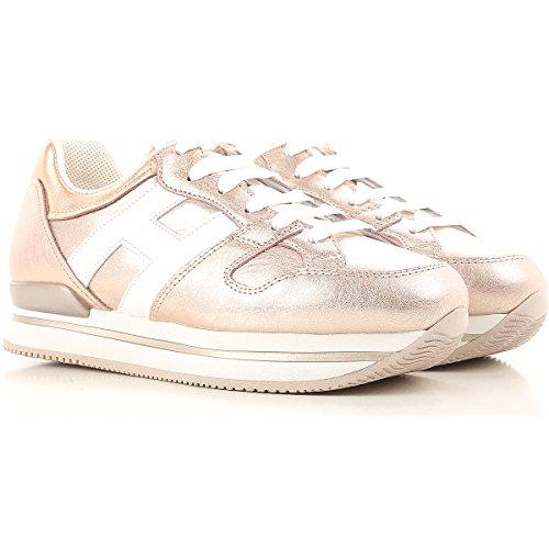 Hogan Donna Sneakers H222 in Pelle Metallizzata Mod. HXW2220T548I8G089A Rosa e Bianco