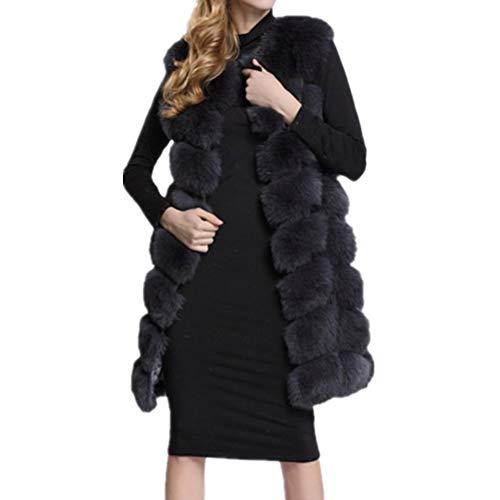 Lisa Colly Women Faux Fur Vest Coat Winter Fashion Artifical Fur Vest Coat Long Fur Vest Waistcoat Female Faux Fox Fur Vest (3XL, Black)