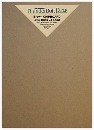 100 Sheets Chipboard 24pt (point) 5 X 7 Inches Light Medium Weight Photo|Card Size .024 Caliper Thick Cardboard Craft Packaging Brown Kraft Paper Board by ThunderBolt Paper