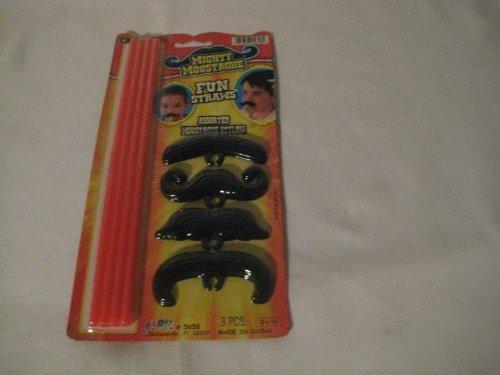 Mighty Moustache [Mustache] Fun Straws, Assorted -