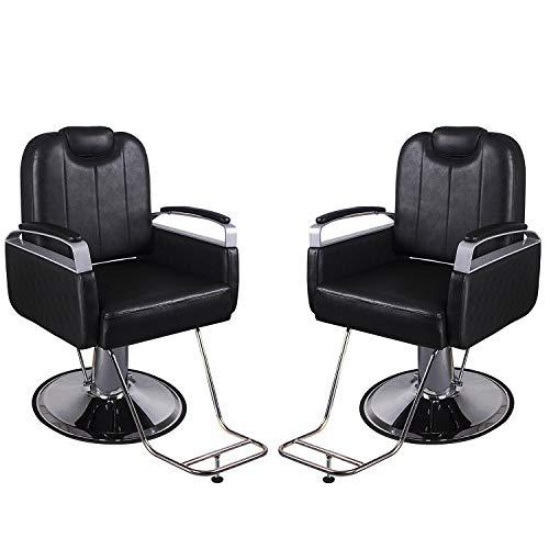 Walcut 2 Sets of Reclining Hydraulic Barber Chair Styling Salon Beauty Shampoo Spa Equipment Black Hair Cutting