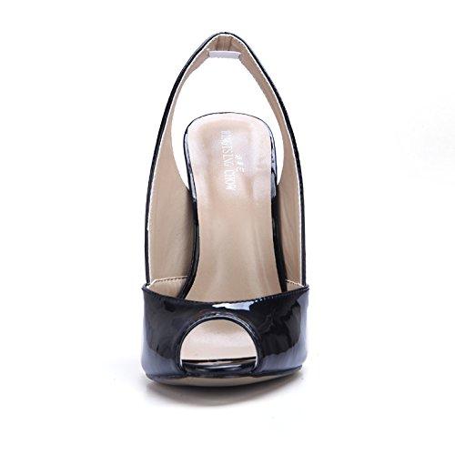 sandalias con pescado de de nueva alto tacón de ZHZNVX cena y resorte vacía con pintura zapatos sexy Hembra perla boca solo Wine hierro zapatos luz red gww5zqZ