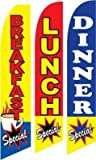 Breakfast And Lunch And Dinner Specials Feather Banner Flags (Pack of 3)