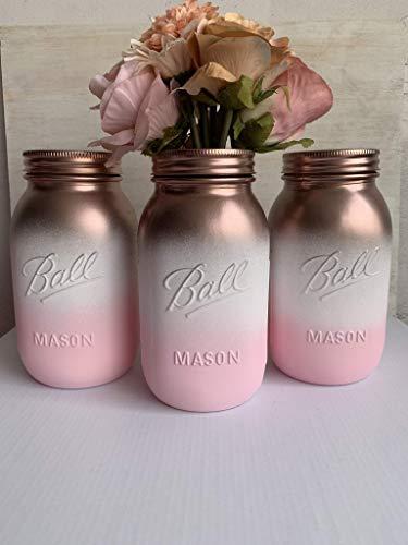Rose Gold Pink Mason Jar Bridal Centerpiece Set