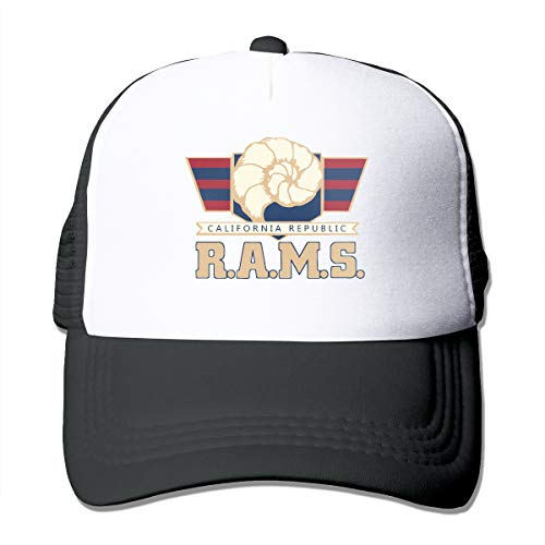 (Unisex California Bear with Rams Play Football Trucker Cap Suitable for Indoor or Outdoor Activities Black)