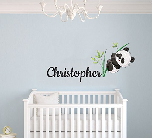 Custom Name Panda Bear And Branches - Baby Gir/Boyl - Nursery Wall Decal For Baby Room Decorations - Mural Wall Decal Sticker For Home Children's Bedroom (MM132) (Wide 22