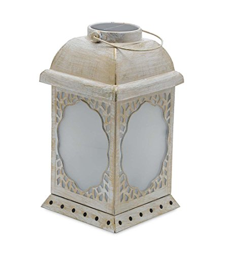 Solar LED Lighted Hanging Metal Lantern with Swirling Butterfly Lights 6 sq. x 11 H Cream White by Plow & Hearth