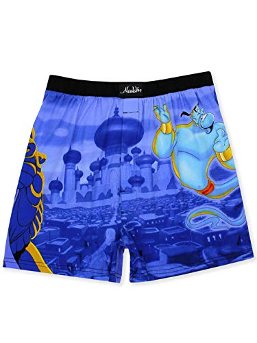 Disney Aladdin Genie Jafar Mens Briefly Stated Boxer Lounge Shorts (X-Large, Blue/Multi) (Disney Boxers For Men)