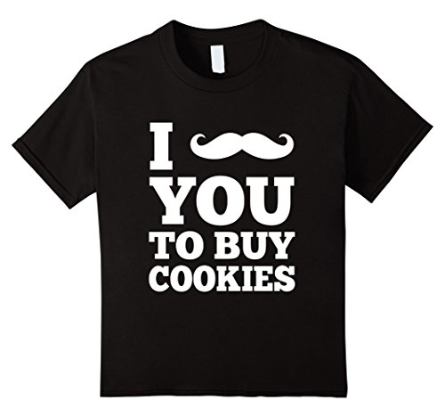 Kids I Mustache You To Buy Cookies - Funny Girl Scout T shirt 8 Black