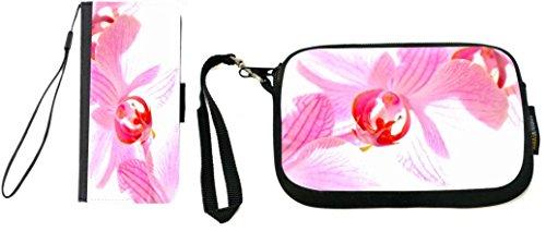 Rikki Knight Pink Orchid Design Galaxy S6 Premium PU Leather Wallet Type Flip Case with Matching Neoprene Clutch Wristlet ()