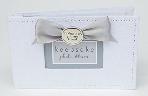 Godmother You Are Loved Pewter Coin White Faux-Suede 5x7 Photo Album