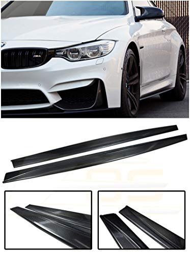 Extreme Online Store Replacement for 2015-Present BMW F82 M4 | EOS M-Performance Style Carbon Fiber Side Skirt Rocker Panels Extension SS-120-BKCF