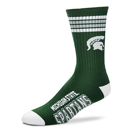 For Bare Feet NCAA 4 Stripe Deuce Crew Children (Boys/Girls) Socks-Michigan State Spartans-Size Child (6-11) (State Spartans Watches Michigan College)