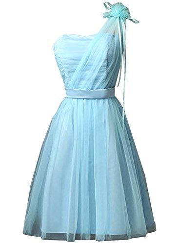 Azbro Mujer Vestido de Boda de Noche Adorno Plisado en Pecho Azul Claro
