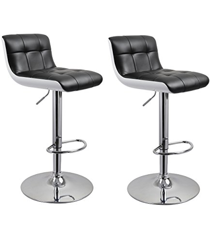 Duhome WY-205 Faux Leather and ABS Plastic Bar Stools Set of 2 Kitchen Counter Height Adjustable Chairs (Black+White) Review