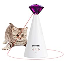 PIXNOR Cat Toy Pet Laser Pointer for Cats Automatic Rotating Catch Training, Adjustable 3 Speeds, Automatic Rest Period, Pretty Diamond Shape, Battery Powered
