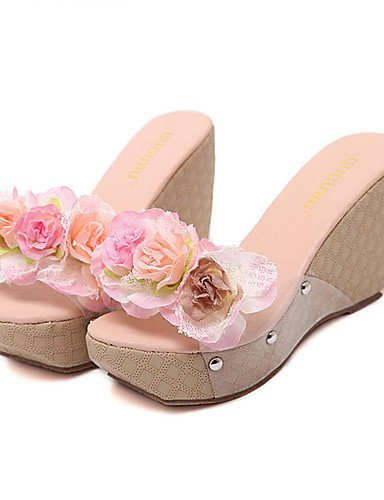 ShangYi Womens Shoes Silicone Wedge Heel Open Toe Sandals Dress Brown / Pink Brown