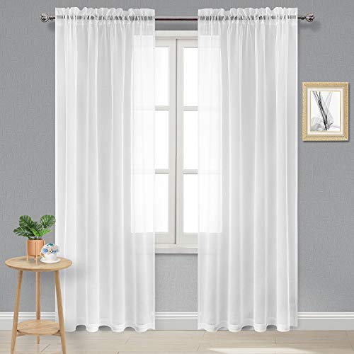 DWCN White Sheer Curtains Linen Look Rod Pocket Volie Sheer Bedroom Curtains Set of 2 Curtain Panels, 52 x 90 inches Long Curtains