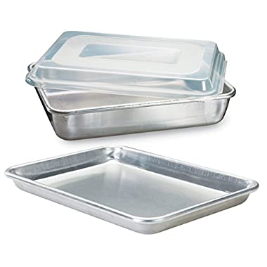 Nordic Ware Natural Aluminum Commercial 3-Piece Baker's Set, Quarter Sheet and Cake Pan