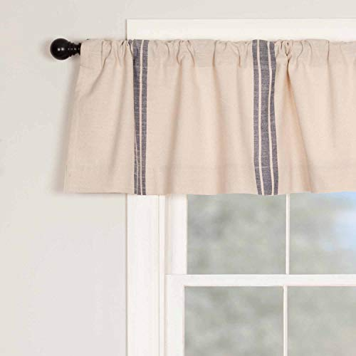 Piper Classics Market Place Blue Grain Sack Stripe Valance Curtain, 16