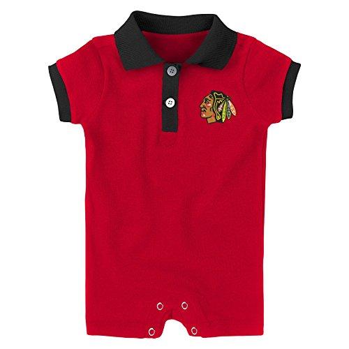Chicago Blackhawks Snap - Outerstuff NHL Chicago Blackhawks Newborn & Infant Prepster Polo Romper, Red, 24 Months