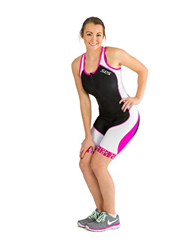 SLS3 Womens Triathlon Tri Race Suit - 1 Pocket Skinsuit Trisuit (Black/Pink, - 2 Tri Womens Suits Piece