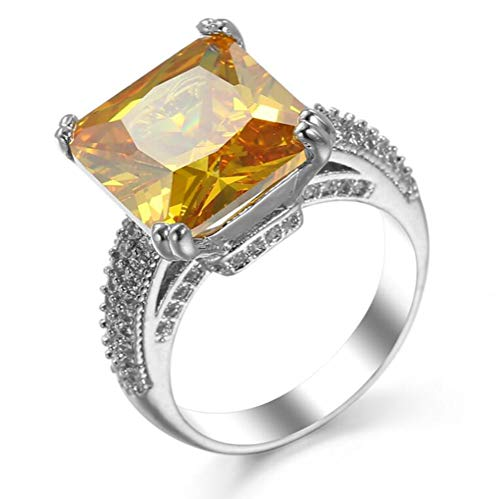 14k Silver Princess Cut Canary Yellow Cubic Zirconia Cocktail Engagement Rings for Women,Size 8