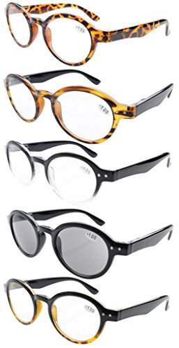 Eyekepper 5-Pack Spring Hinges Round Retro Reading Glasses Inc Sun Readers - Reader Glasses Round