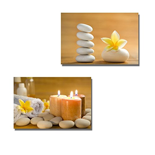 Zen Stone Aromatic Soap Bar with Frangipani Flower on Bamboo Mat Wall Decor ation x 2 Panels
