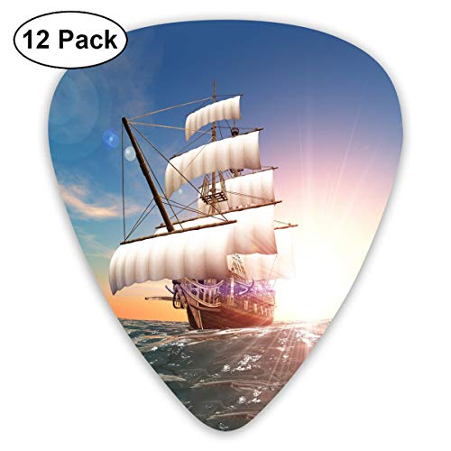 (GUITARARAR Guitar Picks 12pack Celluloid Plectrum Custom 0.46mm/ 0.71mm/ 0.96mm Pirate Ship Sunrise Electric Acoustic Guitars Bass Best Stocking Stuffer Gifts for Kids Teens Teenagers Adults)