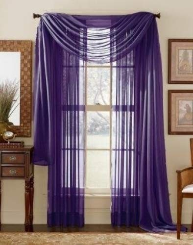 LuxuryDiscounts Beautiful Elegant Solid Purple Sheer Scarf Valance Topper 37