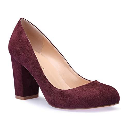 (SUNETEDANCE Women's Block Heel Pumps Round Toe Heels Sexy Elegant Slip-on Comfort Classic High Heels Office Business Shoes Suede Wine Pump 10 M US)
