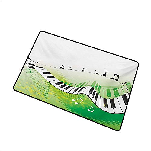 Door mat Customization Music Music Piano Keys Curvy Fingerboard Summertime Entertainment Flourish W24 xL35 Mildew Proof