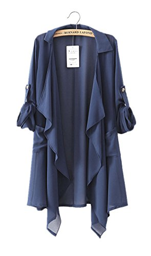 ARJOSA Womens Chiffon Pockets Cardigan