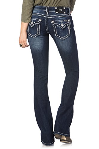 Miss Me Loose Saddle Stitch Border Boot Cut Jean 31 Dark Blue from Miss Me