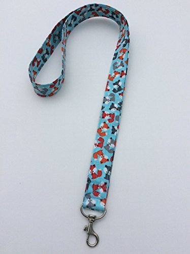 Blue Fox Lanyard Keychain ID Badge Fabric Key Keeper Necklace Novelty by Heather's Quaint Quilts