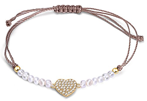 YAN & LEI Sterling Silver Freshwater Cultured Pearls Heart Charm Ajustable Cord Bracelet in Golden - Heart Freshwater Pearl Bracelet