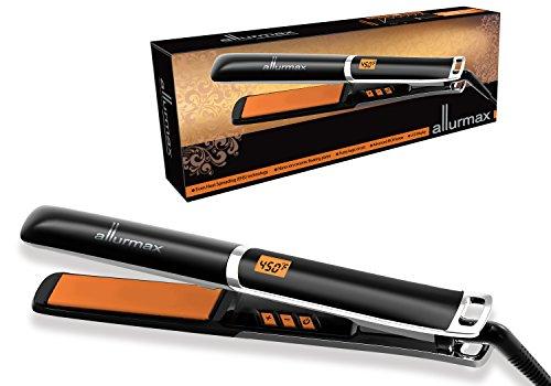 ALLURMAX Professional Hair Straightener, Flat Iron, with Tourmaline Ceramic Ionic, Fuzzy Logic Circuit Digital LCD Display Temperature Control]()
