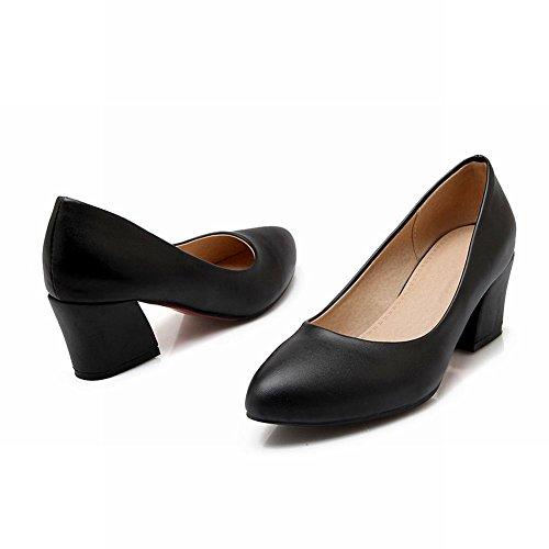 Carolbar Womens Bridal Fashion Party Pointed Toe Mid Heel Dress Pumps Shoes Black 2sDK6OFC9